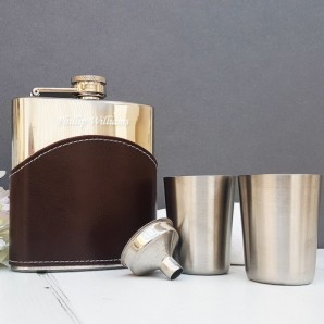 Personalised Brown Leather Hip Flask Gift Set - Image 1