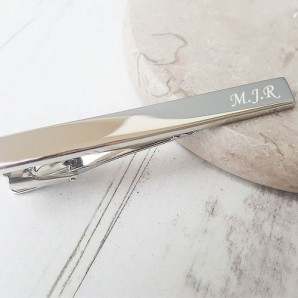 Personalised Silver Plated Tie Clip - Image 1