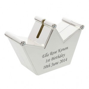 Personalised Silver Plated Crown Money Box - Image 1