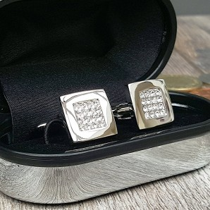 Crystal Square Silver Plated Cufflinks - Image 1