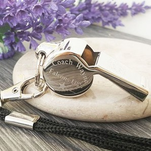 Personalised Silver Plated Star Design Whistle - Image 1