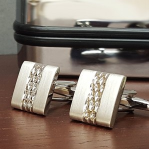 Silver Plated Square Patterned Cufflinks - Image 1