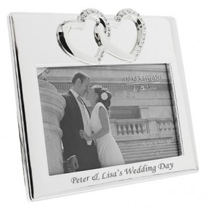 Personalised Silver Plated Crystal Heart Photo Frame - Image 1