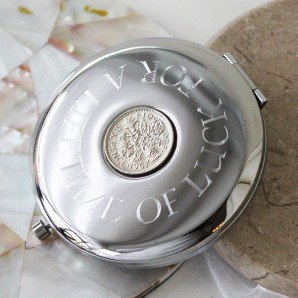 Personalised Lucky Sixpence Compact Mirror - Image 1