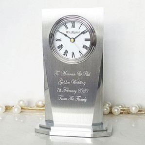 Personalised Silver Plated Column Clock - Image 1