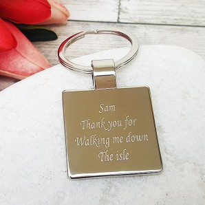 Personalised Silver Plated Square Keyring - Image 1