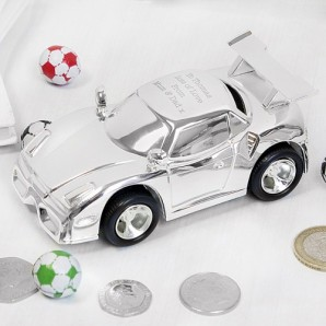 Personalised Silver Plated Sports Car Money Box - Image 1
