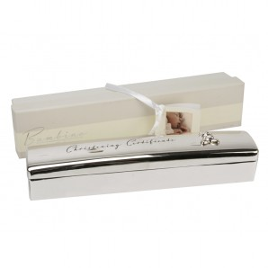 Personalised Silver Plated Christening Certificate Holder - Image 1