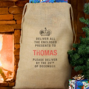 Personalised Christmas Presents Natural Hessian Sack - Image 1