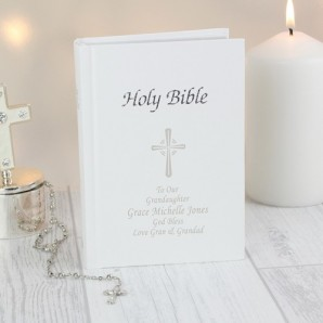 Personalised White Holy Bible - Image 1