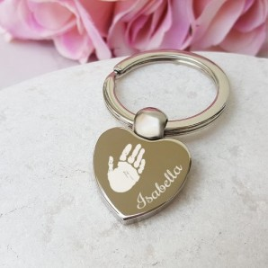 Personalised Imprint Silver Heart Keyring - Image 1