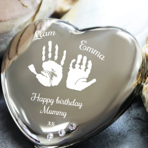 Personalised Imprint Silver Heart Compact Mirror - Image 1