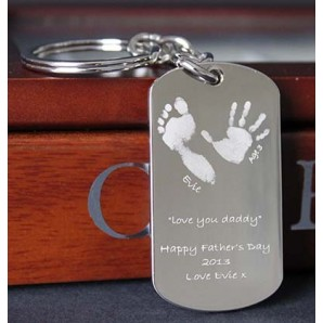 Personalised Imprint Silver ID Tag Keyring - Image 1