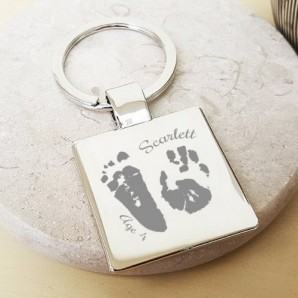 Personalised Imprint Silver Cushion Keyring - Image 1
