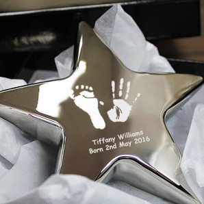 Personalised Imprint Silver Star Paperweight - Image 1