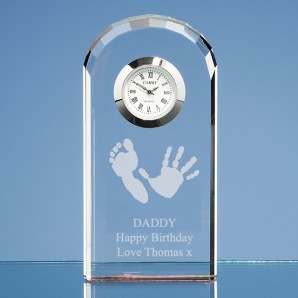 Personalised Imprint Bevelled Arch Crystal Glass Clock - Image 1