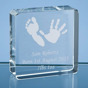 Personalised Imprint Crystal Glass Block - Image 1