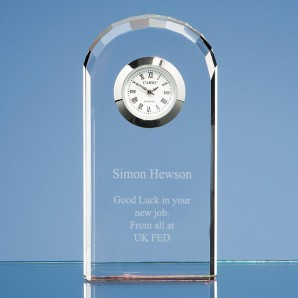 Personalised Bevelled Arch Crystal Glass Clock - Image 1