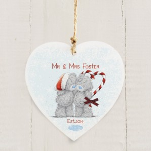 Personalised 'Me to You' Couple's Wooden Hanging Christmas Decoration - Image 1
