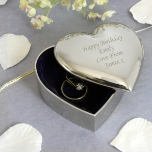 Engraved Silver Heart Trinket Box - Image 1