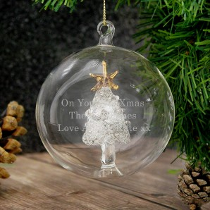 Personalised Glass Christmas Tree Bauble - Image 1