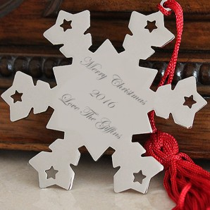 Personalised Metal Snowflake Christmas Tree Decoration - Image 1