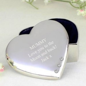 Engraved Silver Heart Trinket Box With Crystals - Image 1