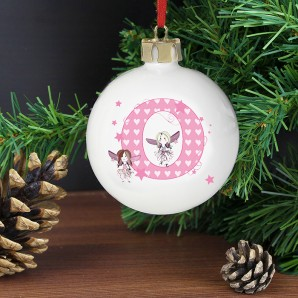 Personalised Initial Letter Fairy Design Christmas Bauble - Image 1