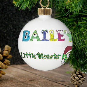 Personalised Little Monster Name Christmas Bauble - Image 1