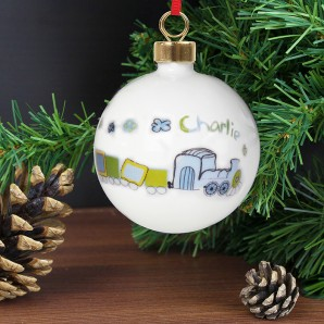 Personalised Patchwork Train Name Christmas Bauble - Image 1
