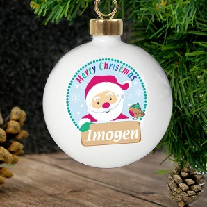 Personalised Christmas Santa Bauble - Image 1