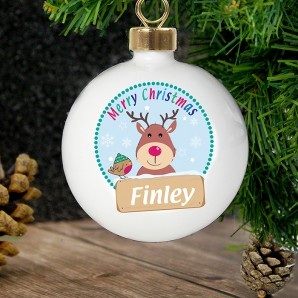 Personalised Christmas Rudolph Bauble - Image 1