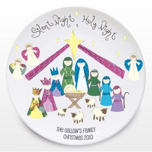 Personalised Silent Night Nativity Christmas Plate - Image 1