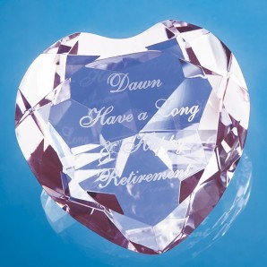 Engraved Pink Crystal Heart Paperweight - Image 1