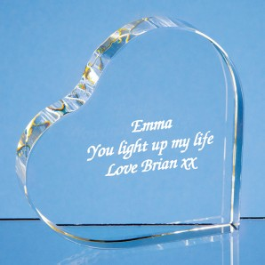 Engraved Heart Crystal Block - Image 1