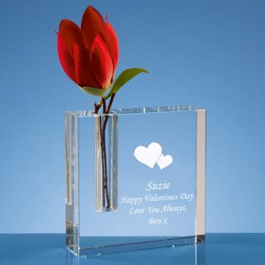 Engraved Crystal Heart Bud Vase - Image 1
