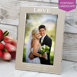 Engraved Silver Love Photo Frame - Image 1