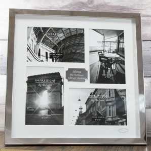 Engraved Silver 4 Aperture Photo Frame - Image 1