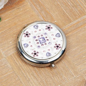 Engraved Pearl Crystal Flower Compact Mirror  - Image 1