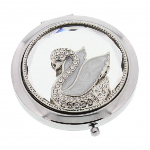 Engraved Pearl And Crystal Swan Compact Mirror - Image 1