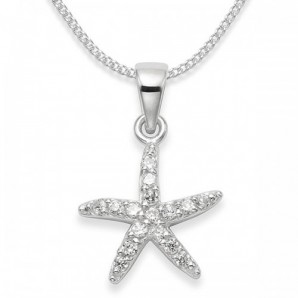 Sterling Silver Crystal Star Necklace In Engraved Gift Box - Image 1