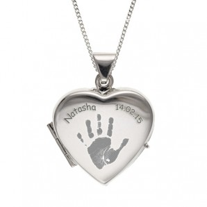 Engraved Handprint Silver Heart Locket - Image 1