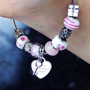 Engraved Pink Key And Heart Charm Bracelet   - Image 1