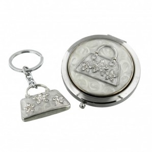 Personalised Handbag Design Compact Mirror with Free Keyring - Image 1