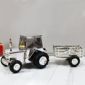 Engraved Tractor With Trailer Money Box  - Image 1