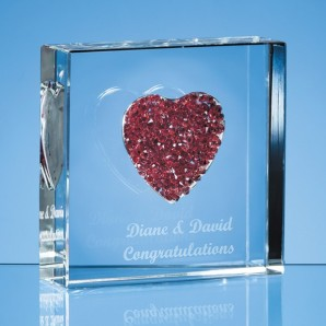 Engraved Red Heart Crystal Paperweight - Image 1