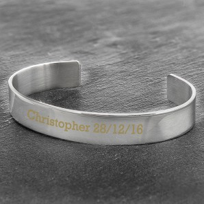 Engraved Stainless Steel Bangle - Image 1