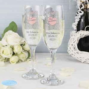Personalised Just Married Me To You champagne Flutes - Image 1