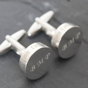 Wedding Role Round Engraved Cufflinks - Image 1