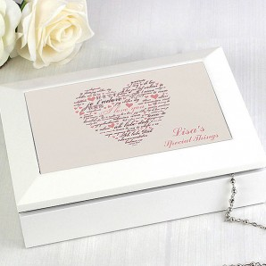 Personalised White Wooden I Love You Jewellery Box - Image 1